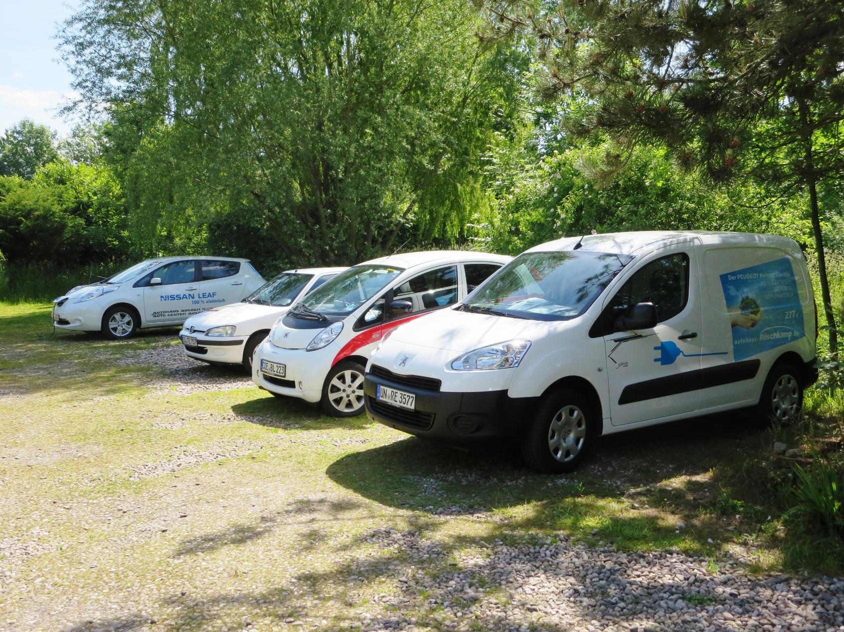 """Diese vier unterschiedlichen Elektroautos wurden in altenberge """"erfahrbar"""" gemacht."""
